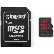 Карта памяти Kingston 4K microSDXC 64GB Class 10 UHS-I U3 R90/W80MB/s